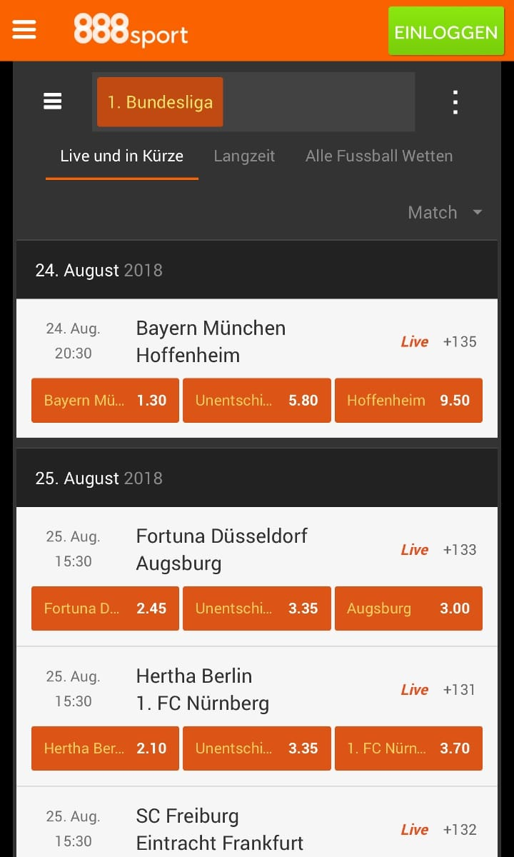 888Sport App Bundesliga Wetten
