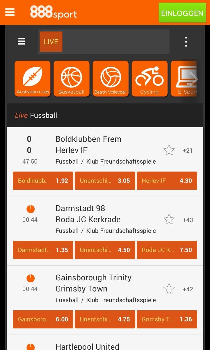 888Sport App Live Wetten
