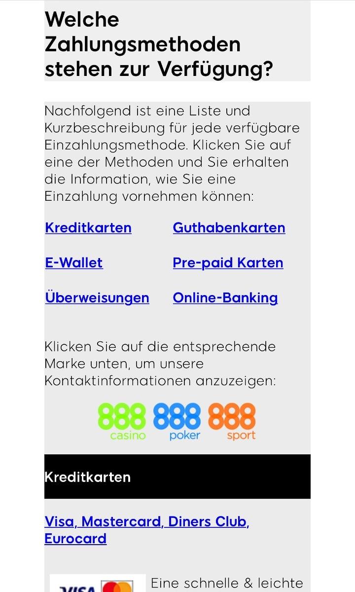 888Sport App Zahlungen