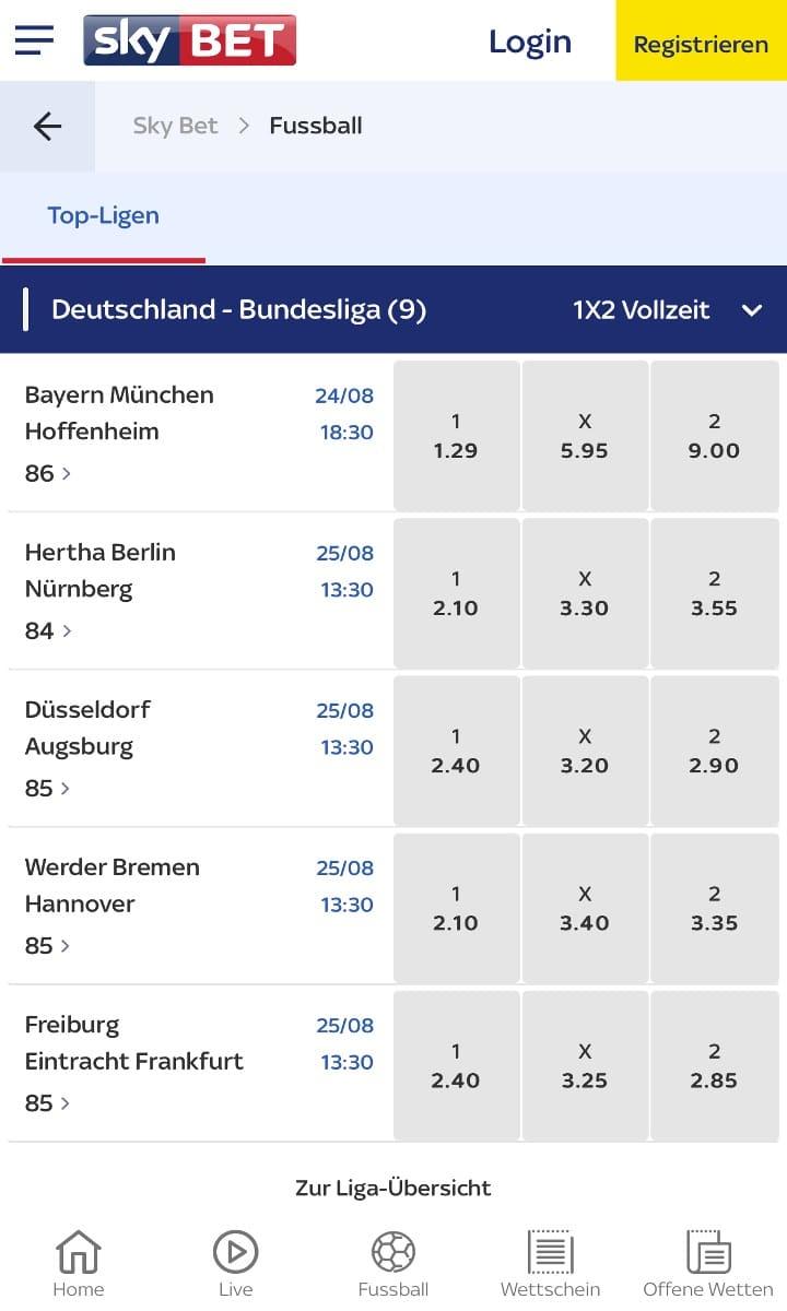 Sky Bet Bundesliga Wetten